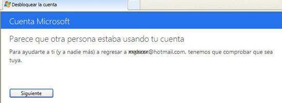 Mensaje de cuenta de Hotmail bloqueada