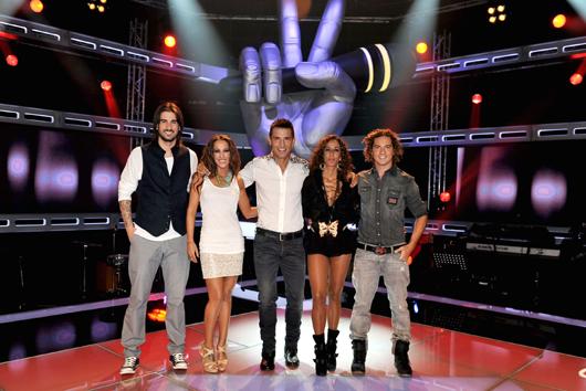 Jesús Vázquez con Melendi, Malú, Rosario Flores y David Bisbal
