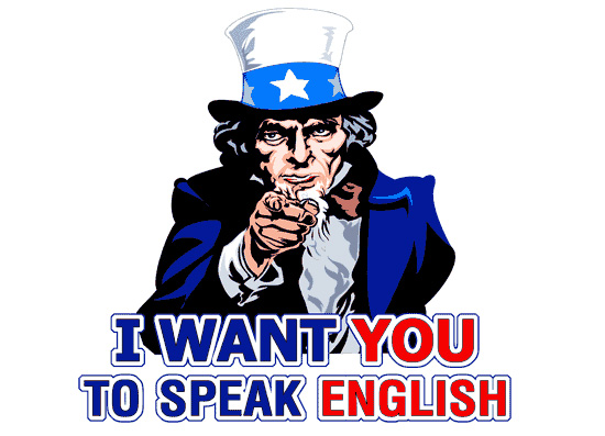 I want you to speak English