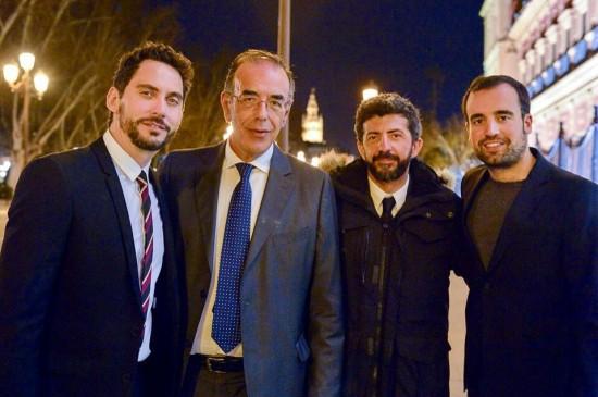 Baldomero Toscano, junto a Paco León, Alberto Rodríguez y Antonio Abeledo.